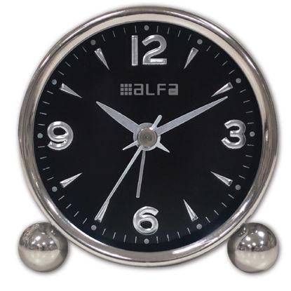 Εικόνα της Ρολόι Επιτραπέζιο ΑΜ03 Alfaone Αναλογικό Αθόρυβο Μεταλλικό Chrome-Μαύρο