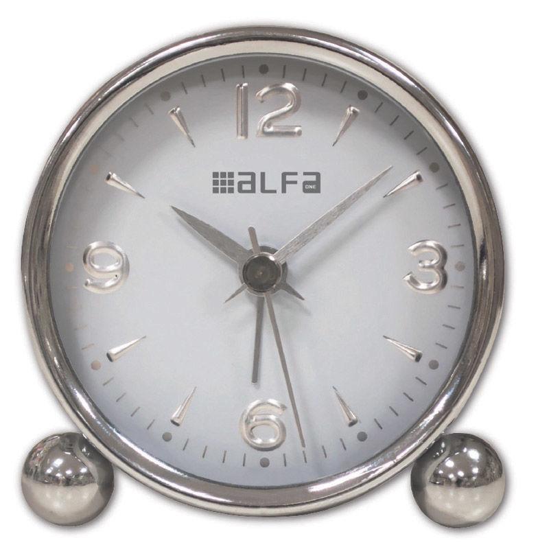 Εικόνα της Ρολόι Επιτραπέζιο ΑΜ03 Alfaone Αναλογικό Αθόρυβο Μεταλλικό Chrome-Λευκό
