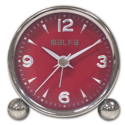 Εικόνα της Ρολόι Επιτραπέζιο ΑΜ03 Alfaone Αναλογικό Αθόρυβο Μεταλλικό Chrome-Κόκκινο