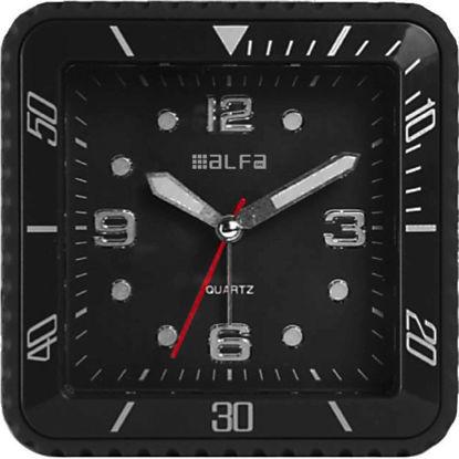Εικόνα της Ρολόι Επιτραπέζιο 2810 Alfaone Αναλογικό Αθόρυβο με φωτισμό Led Μαύρο rubber-Silver