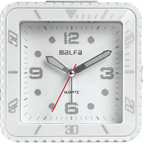 Εικόνα της Ρολόι Επιτραπέζιο 2810 Alfaone Αναλογικό Αθόρυβο με φωτισμό Led Λευκό rubber-Silver