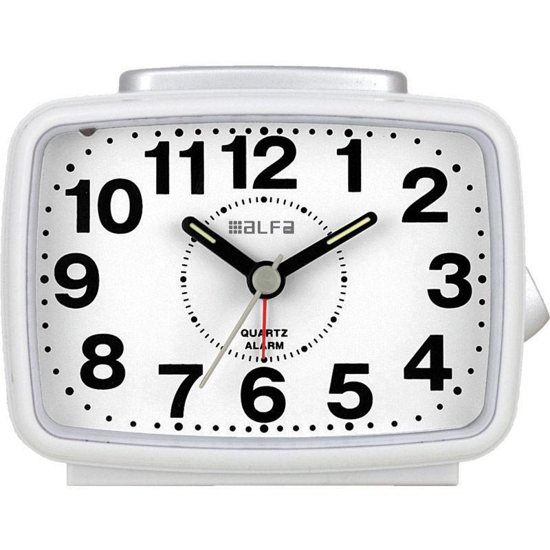 Εικόνα της Ρολόι Επιτραπέζιο 2816 Alfaone Αναλογικό Αθόρυβο με φωτισμό Λευκό-Silver