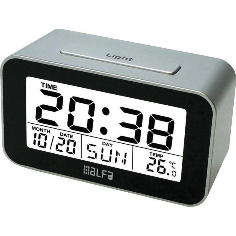 Εικόνα της Ρολόι Επιτραπέζιο ΕΤ622Α Alfaone Ψηφιακό Με ένδειξη θερμοκρασίας και φωτιζόμενη οθόνη Silver-Μαύρο
