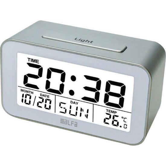 Εικόνα της Ρολόι Επιτραπέζιο ΕΤ622Α Alfaone Ψηφιακό Με ένδειξη θερμοκρασίας και φωτιζόμενη οθόνη Silver-Λευκό