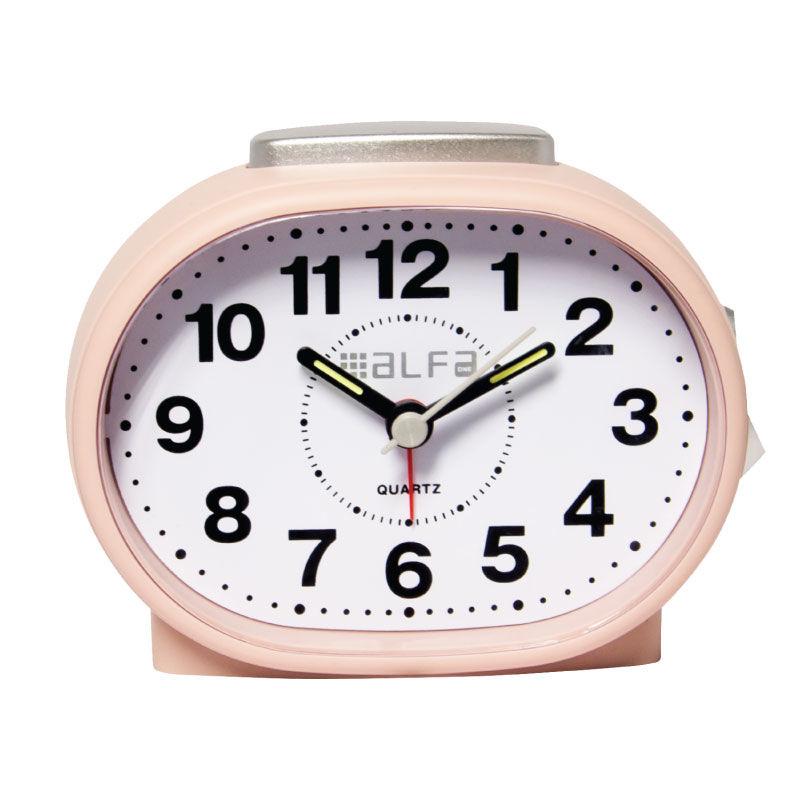 Εικόνα της Ρολόι Επιτραπέζιο ALTC-60169 Alfaone Αναλογικό Αθόρυβο με φωτισμό Ροζ rubber-Silver