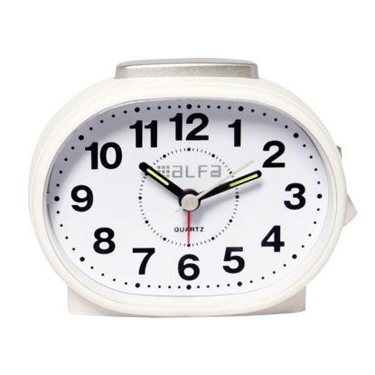Εικόνα της Ρολόι Επιτραπέζιο ALTC-60170 Alfaone Αναλογικό Αθόρυβο με φωτισμό Κρεμ rubber-Silver