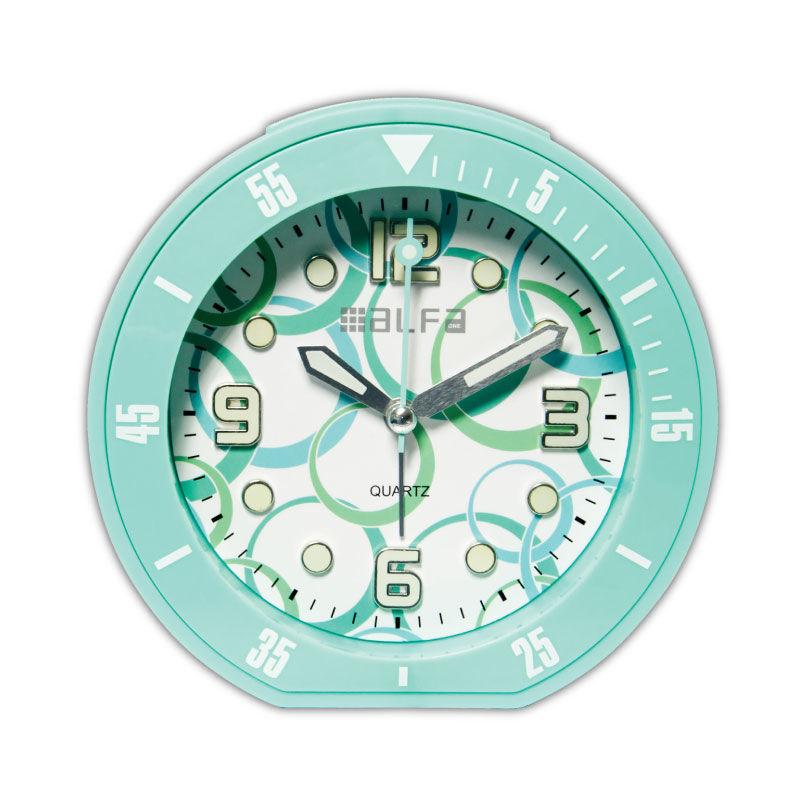 """Εικόνα της Ρολόι Επιτραπέζιο ALTC-60171 Alfaone Αναλογικό Αθόρυβο με φωτισμό """"Decors"""" Βεραμάν rubber"""
