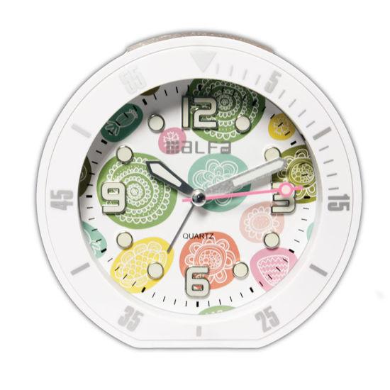 """Εικόνα της Ρολόι Επιτραπέζιο ALTC-60172 Alfaone Αναλογικό Αθόρυβο με φωτισμό """"Decors"""" Λευκό rubber"""