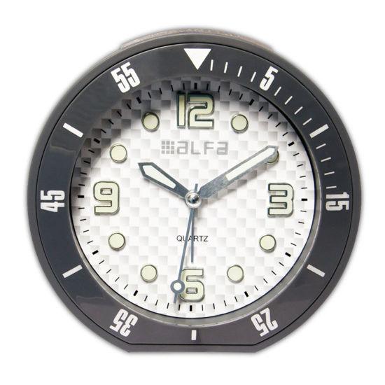 """Εικόνα της Ρολόι Επιτραπέζιο ALTC-60173 Alfaone Αναλογικό Αθόρυβο με φωτισμό """"Decors"""" Ανθρακί rubber"""