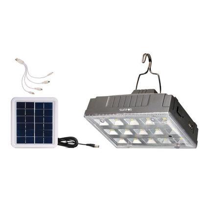 Εικόνα της Ηλιακή Λάμπα IS-1376S Sunfos 15Led Με θύρα USB για φόρτιση κινητών-smart συσκευών Γκρι