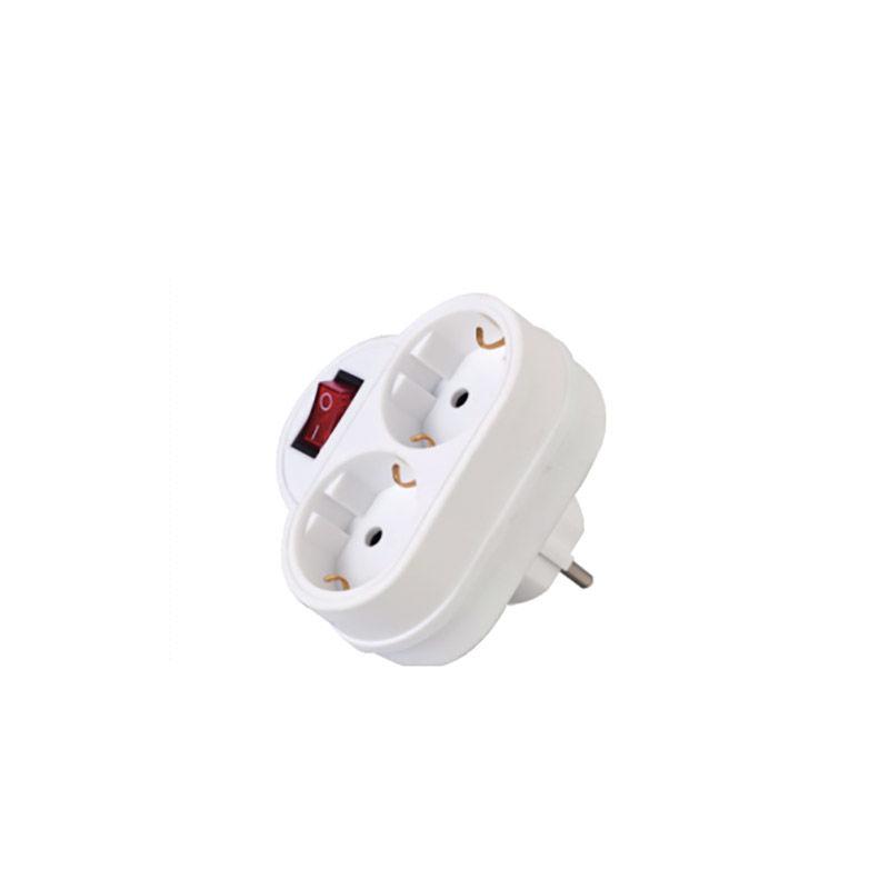 Εικόνα της Adaptor GZB01/02A Alfaone Σούκο 1Χ2 με διακόπτη Λευκό